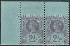 1887 JUBILEE SG201 21/2d PALE PURPLE/BLUED PAPER U/M PAIR FIRST SETTING SCARCE