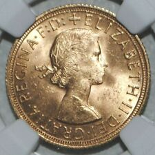 More details for 1958 gold sovereign elizabeth ngc ms63 uncirculated great britain