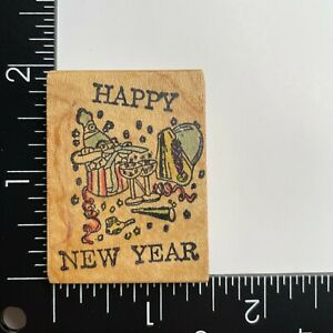 Mitchell Stamps Happy New Year Wood Mounted Rubber Stamp