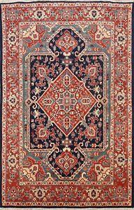 Excellent Geometric Heriz Traditional Area Rug Wool Handmade Oriental Carpet 5x7