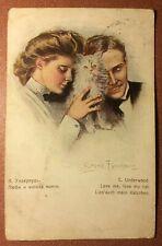 Tsarist Russia postcard Ukraine Elisavetgrad stamp 1914 Couple LOVE white CAT