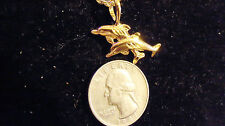 bling gold plated sea dolphin fish pendant charm 24in chain hip hop necklace gp