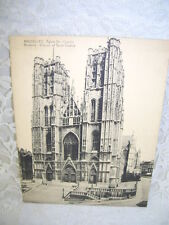 """BRUSSELS SAINT GUDULE POSTCARD BLACK AND WHITE OVER SIZED UNUSED 5.5"""" X 7"""""""