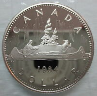 1984 CANADA VOYAGEUR PROOF ONE DOLLAR HEAVY CAMEO COIN