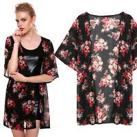 Summer Floral Printed Chiffon Womens Kimono Cardigan Shawl Blouse Tops Cover up
