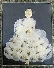 1920s Antique Paper Doll Beaded Ruffled Silk Flower Pedal White Ribbon Framed