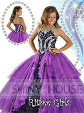 In Stock Szie6/8/10/12 Beads  Flower Girl Dress Formal Pageant Prom Ball Gowns