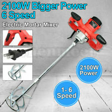 2100w Drywall Mortar Mixer Cement Render Grout Paint Tile Plaster Rotary 6 Speed
