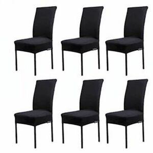 6 Housses Chaise Couverture Noir Salle à Manger Extensible Spandex Tissu
