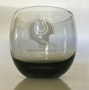 BALTIMORE COLTS VINTAGE 1980'S NFL SMOKED ROCKS GLASS
