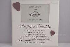 "Recipe for Friendship Photo Frame Best Friends Tribute Wooden Cream 4x6"" F1351b"