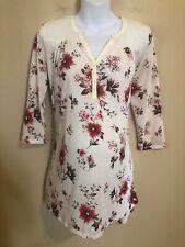 H&M Mama Maternity Medium M Floral Tunic Top Shirt 3/4 Sleeve Cream Boho
