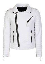 New Men Genuine Lambskin Quilted Biker Jacket Motorcycle Slim fit Leather Jacket