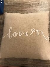 Preowned Wedding Ring Bearer Pillow - Beige Color With Love & Heart & Hand Strap