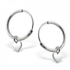 Girls Ladies Sterling Silver Hoop Earrings with Silver Heart 12mm - Gift Boxed