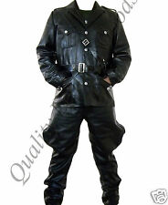 100% GENUINE LEATHER WW2 GERMAN TUNIC & BREECHES TROUSERS MILITARY UNIFORM COAT