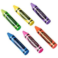 3 CRAYON Shaped Erasers! Rubbers! Party Bag! Treat! Eraser! Novelty! Puzzle!