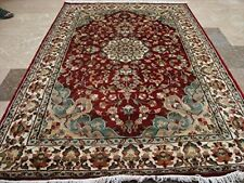Ruby Red Ivory Touch Flowers Area Rug Hand Knotted Wool Silk Carpet (6 x 4)'