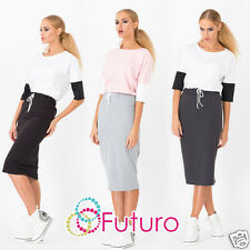 Woman's Casual Plain Pencil Skirt With Belt Stretch Midi Skirt Size 8-12 FA340