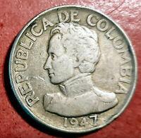 Colombia 50 Centavos 1947 Bogota plata @ bella @