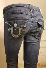 True Religion Hi Rise Boot Cut Long Tall Jeans Rainbow Sequin Pockets 27 x 33