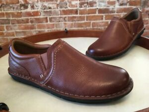 Clarks Dk Tan Brown Leather Janice Barrie Slip-on Comfort Shoes NEW