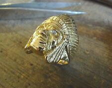Ring yellow gold Head'indian with eyes in oxide white