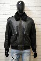 VERA PELLE Uomo 50 Cappotto Giacca Giubbino Giaccone Nero Jacket Man Vintage