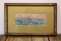 Antique Original Watercolour Painting of Sailing Ships Signed J Brett Circa 1900
