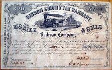 1854 Warrant/Bond Certificate-Gibson County, Tennessee TN-Mobile & Ohio Railroad