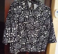 NWOT~ ladies soft,stretchy polyester/elastane box style top,black/white size 20~