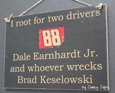 Dale Earnhardt Jr wrecks Brad Keselowski Driver Sign Racing Bar Man Cave Rare