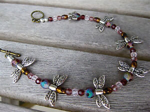 """DRAGONFLY ANKLET 9.5"""" purple beads"""