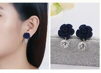 Women 12mm Blue Lapis Lazuli Rose Flower 925 Sterling Silver Stud Earrings K49