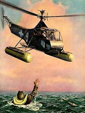 Peinture scène paysage marin rescue helicopter chopper pilote Ocean poster lv3448