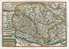 HUNGARY, HUNGARIA, Van Den Keere, Miniature Speed original antique map 1675