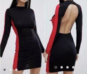 LASULA Backless Dress Black & Red High Neck Bodycon Stretch Mini UK Size 12