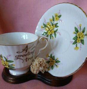 "Vintage Royal Windsor Dainty Florals ""A Greeting True"" Tea Cup & Saucer"