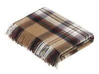 Tartan Plaid- Merino Lambswool Throw Blanket-  Camel Stewart Tartan- Made in Eng
