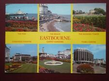 POSTCARD SUSSEX EASTBOURNE - MULTI VIEW - PIER - BEACH - TGWU CENTRE - CARPET GA
