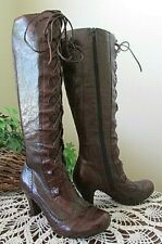 BORN CROWN BORDEAUX BROWN LEATHER KNEE HIGH HEEL WING TIP  BOOTS-VINTAGE-NWOB
