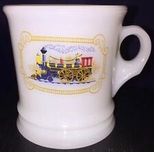 HO AVON FIRE KING MILK GLASS SHAVING MUG IRON HORSE STEAM ENGINE TRAIN DESIGN