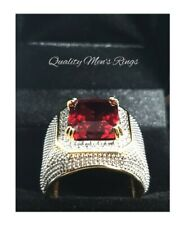 Mens Bling Iced Out Diamond 18 CT Gold Ruby Ring SIZE 10