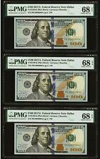 $100 Fancy Fr 2189 K-BIG HEAD--FRN PMG EPQ 3 NOTES,ULTRA FANCY SERIAL NUMBERS