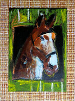 ACEO original pastel painting outsider folk art brut #010477 surreal funny horse