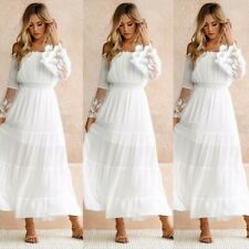 Women Plain Lace Maxi Dress Ladies Beach Party Boho Holiday Summer Long Dress