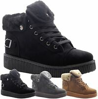 Ladies Women Grip Sole Winter Creeper Ankle Fur Combat Boots Trainers Shoes Size