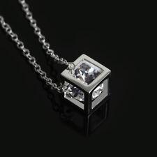 Weihnachten Silberkette Würfel Anhänger Hohl Kristall Halskette