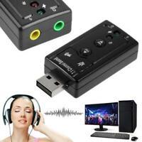 7.1 External USB Sound Card Adapter 3.5mm Audio Jack Virtual For PC Windows10 US