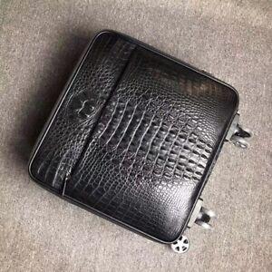 Leather Luggage Bag Genuine Crocodile Skin Travel Suitecase 15 inch Black